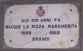 Targa di dove è nata la pizza Margherita