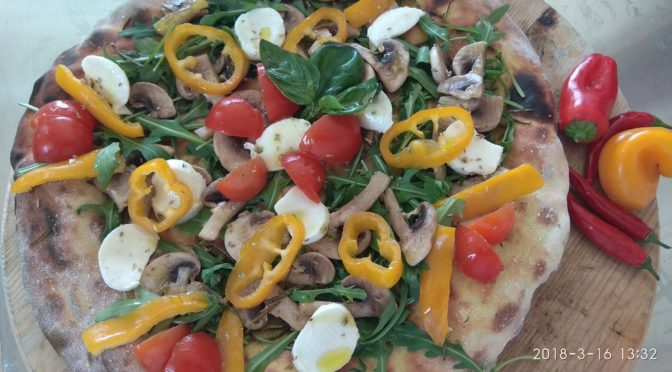 Focaccia dough with Chickpeas and Vegetables with Mozzarella