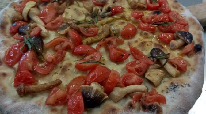 Focaccia with tomatoes and mushrooms Forest