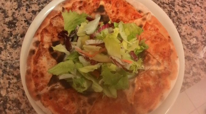 A Special Pizza Margherita With Mixed Salad