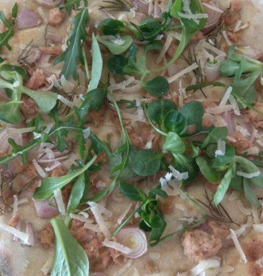 Focaccia con Tonno Cipolla Rucola e Parmigiano