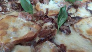 Pizza con Mozzarella Radicchio Scamorza e Salsiccia