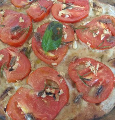Focaccia dough Integral With Tomato Garlic and Anchovies