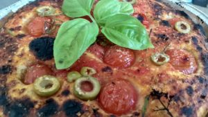 Dough Potato Focaccia with tomatoes and olives