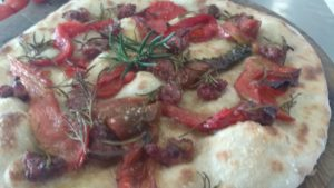 Focaccia with peppers and sausage Liver