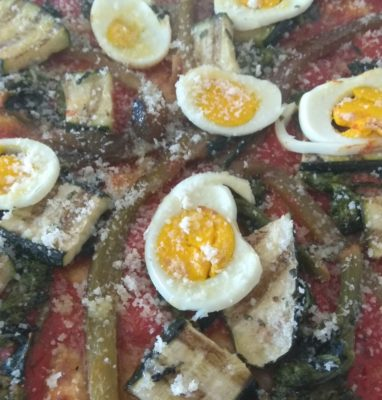 Pepperoni Pizza with Turnip Tops Zucchini Boiled Egg
