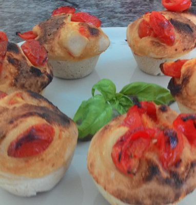 Savory Stuffed Rustic Pizza Muffins