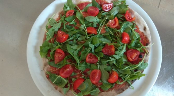 Pizza With Rocket and Cherry Tomatoes