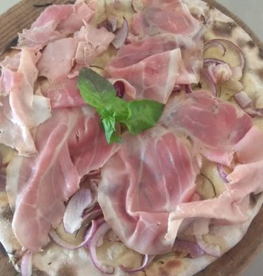 Focaccia with Onions and Cooked Ham